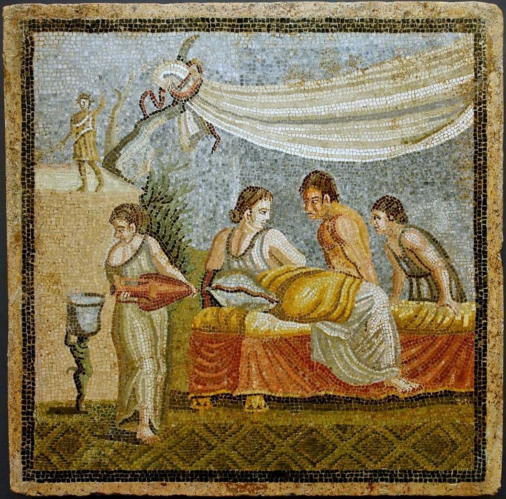 Ancient Roman mosaic of a love scene, from Centocelle. 1st century AD, currently located at theKunsthistorisches Museum, Austria.