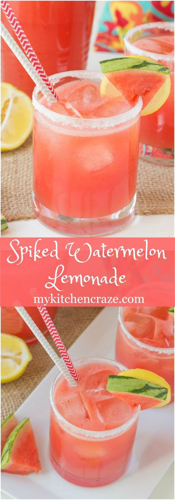 Spiked Watermelon Lemonade ~ mykitchencraze.com ~ This drink is a delicious blend of watermelon, frozen lemonade and vodka. This is one adult drink you won't want to pass up this summer!