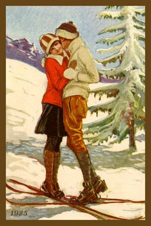 Couple Embracing on Skis 1925. Quilt Block printed on cotton. Ready to sew.  Single 4x6 block $4.95. Set of 4 blocks with free wall hanging pattern $17.95