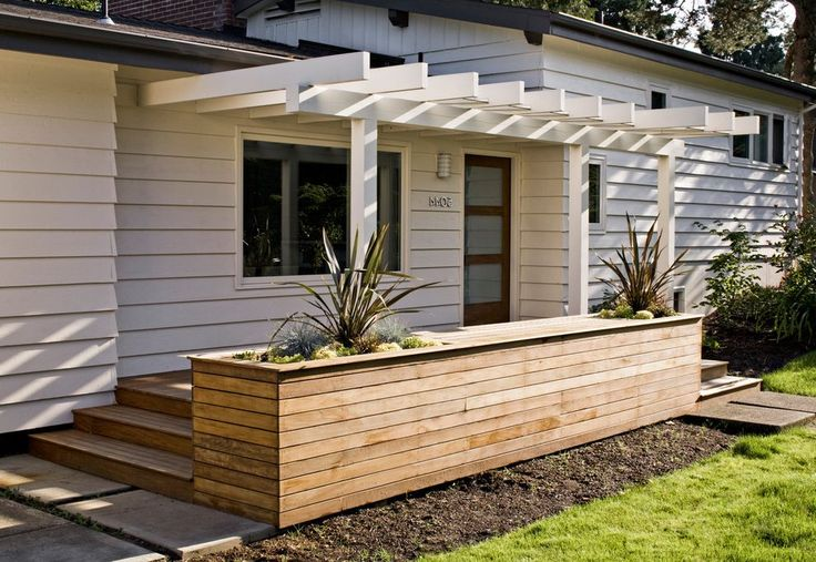 front planter box ideas | planter box ideas exterior midcentury with light filled white front ...