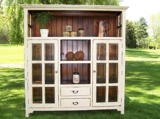 A tacky old entertainment center could TOTALLY be remade to look like this! by melva