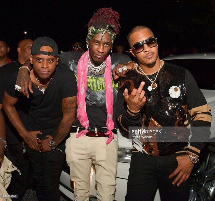 London Jae, Young Thug and T.I. attend Young Thug's birthday party at Tago International on August 16, 2017 in Atlanta, Georgia.