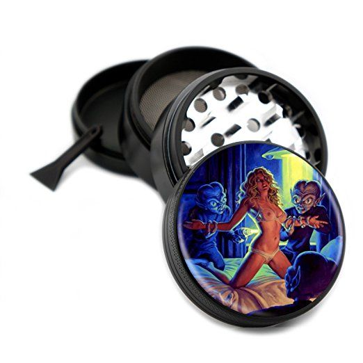 "Abducted by Aliens Grinder 4 Piece Premium Black Aluminum Aerospace Metal Grinders 2.5"" 63mm - Easily Grind Herbs and Spices! Sci-fi Alien Pin Up Girl - Gift Box"