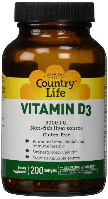 Regular Price: $18.99   Country Life Vitamin D3 5000 IU    Vitamin D aids in the absorption of calcium, helping to form and maintain healthy bones and teeth, as well as promote immune health.The vitamin D3 found in this product comes from lanolin, a sustainable and safe source.
