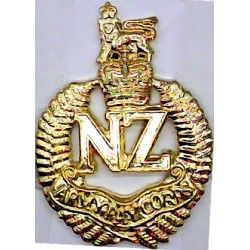 New Zealand Army Pay Corps FL Queen's Crown. Gilt Officers' collar badge