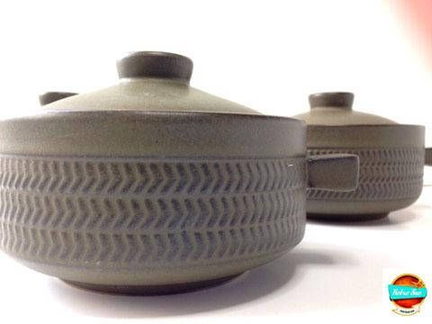 Vintage DENBY Stoneware Bowls lids Chevron Design Green