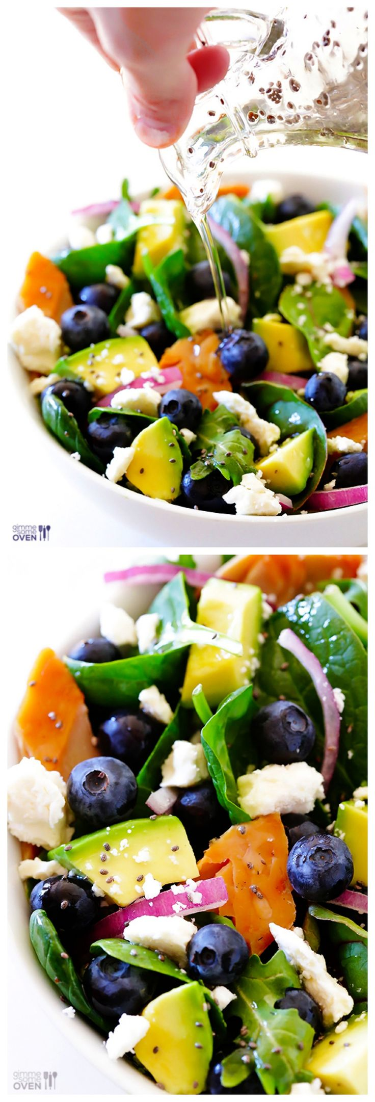 Brain Power Salad -- Besides being beautiful, this smart salad is filled with healthy and delicious ingredients…Spinach, Smoked Salmon, Avocado, Blueberries, Walnuts and Feta. Everything's Betta with Feta!! Dressed with a Honey Chia Seed Vinaigrette! All are good for brain health! | gimmesomeoven.com #salad #recipe