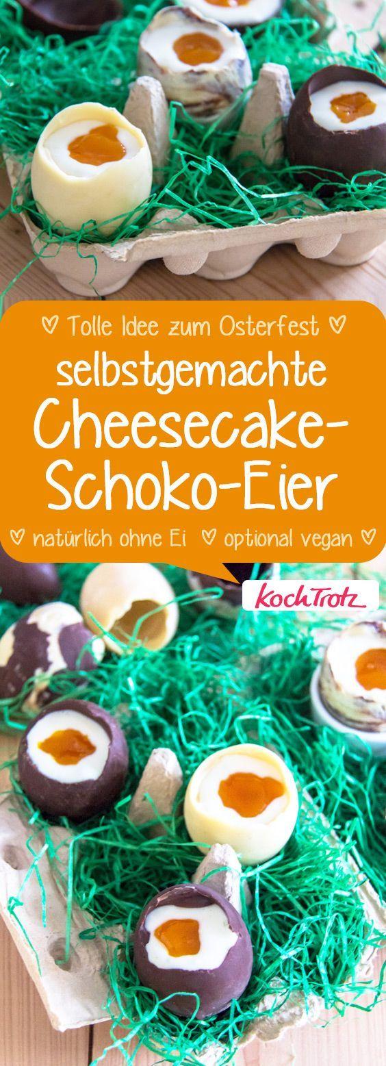 Der leckere Hingucker für den Osterbrunch! Schokoeier mit Cheesecake-Füllung.  #ostern #rezept #cheesecake #laktosefrei #vegan #selbstgemacht