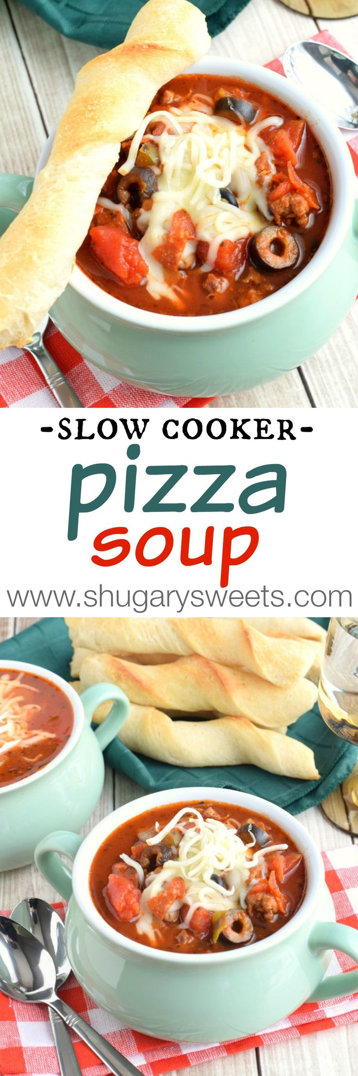 Slow Cooker Pizza Soup: it's delicious comfort food made in your crockpot. Add some breadstick twists for a yummy side!