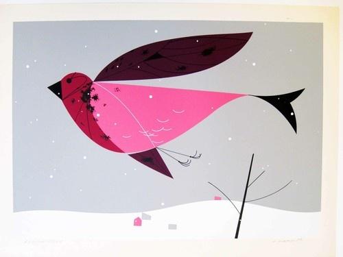"Charley Harper ""Purple Finch"""