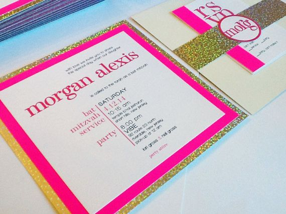Neon Pink and Sparkle Bat Mitzvah Invitation by PlainJaneGraphics, $8.50
