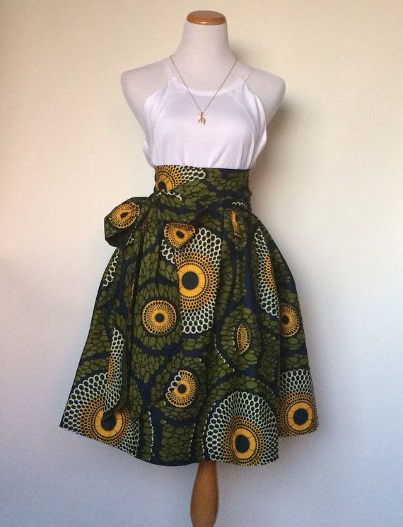 The Aleshia Skirt African Print 100Holland Wax by ChenBCollection, $89.00