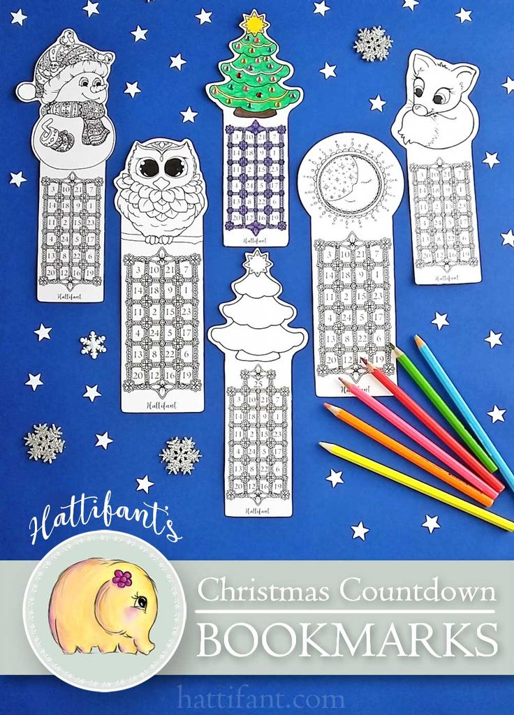 Hattifant's Christmas Countdown Bookmarks to Print and Color So since we are reading EVERY day (right?!) here are some cute BOOKMARKS to help counting the days till Santa visits while reading! With the little bundle you will get all bookmarks in two different sizes! And… you'll get the cute Fox Christmas Countdown Bookmark IN COLOR, too!