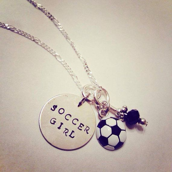 "Sporty Girl ""Soccer Girl"" Hand Stamped Charm Necklace on Etsy, $20.00"