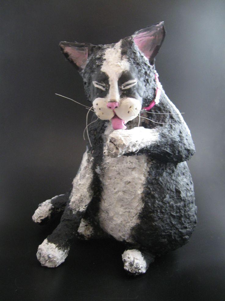 Papier mache cat
