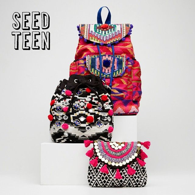 Which is your fave #seedteen bag – our Pom Pom Pouch, Aztec Tassel Purse or our Pom Pom Backpack? Available online and in store now. #seedheritage