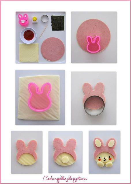 How to make a bear in a bunny suit by Cooking-Gallery... get cutter at @bentousa  (I think is My Melody !!)