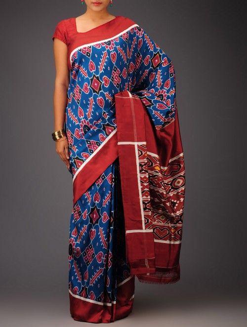 Blue-Maroon Ikat Satin Silk Saree