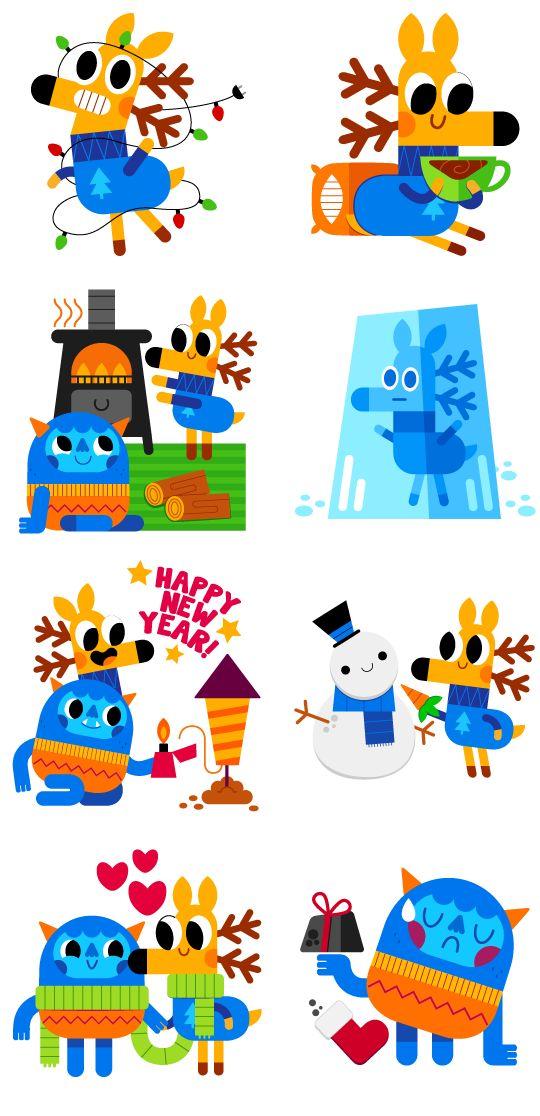 Deer & Yeti - Social messenger app stickers on Behance