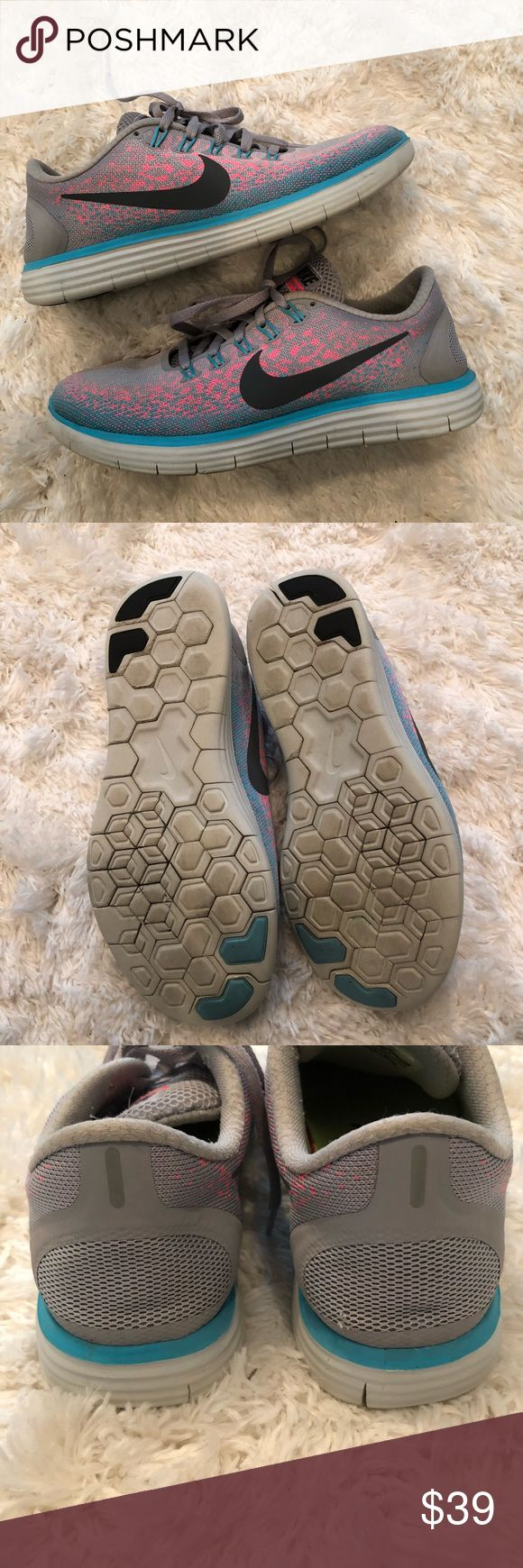 Nike Free RN Distance Running Shoe size 6.5 grey Nike Free RN Distance Running Shoe Turquoise Gray Pink Blue Size 7.5 827116-006. They fit like a 6.5 . Shoes are in good condition. Minimal wear . Great for working out Nike Shoes Sneakers
