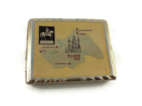 Vintage Russian 1970s #MOSCOW #1147 #Old Moscow #church. #George #Pobedonosets on #horseback. #Warrior on a #horse. #Map. #Aluminium #cigarette #case. by #JustSweetHoney #etsy #cigarettecase #Aluminiumcigarettecase #Sovietcigarettecase #SovietUnion #USSR #souvenir #metalcigarettecase #tobaccocase #smokeraccessories #ancientmoscow #vintagecase #sovietcase #vintagebox #pocketcase #giftforhim #Etsy #sale #gift #businesscardscase #cigaretteholder #smokingsupply #goldcolor #ideaforgigt…