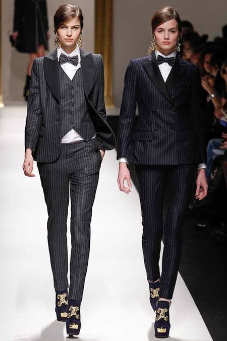 Moschino Fall 2013: Pinstripe le Smoking. Shrunken.