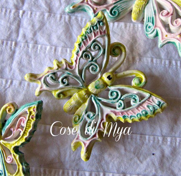 Decorazioni da parete - Coordinato Farfalle Ceramica - un prodotto unico di Cose-di-Mya su DaWanda