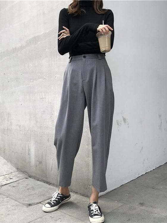 Urban pants with high waist and straight leg
