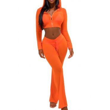 USD11.49 Sexy See-Through Orange Polyester Two-piece Pants Set