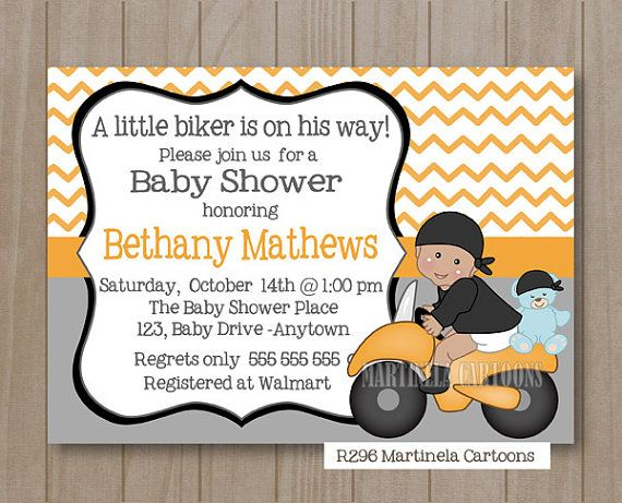 Motorcycle baby shower invitation, printable biker baby invite, orange chevron stripes, coed shower DIGITAL FILE