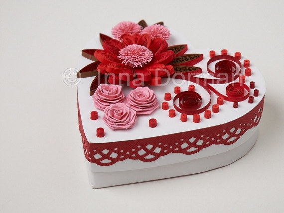 Heart shaped jewelry / gift box decorated with paper flowers. OOAK. $20.00, via