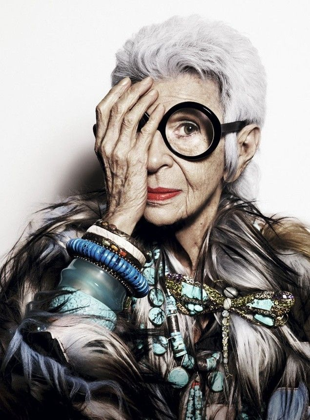 "Style icon for my winter years: ""When you don't dress like everyone else, you don't have to think like everyone else."" Iris Apfel"