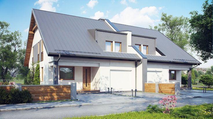 Strefa wejściowa w podcieniu prowadzi przez sień do wygodnego  i funkcjonalnego wnętrza domu.