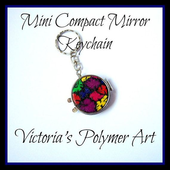 Mini Compact Mirror  Keychain by VictoriasPolymerArt on Etsy, £6.50
