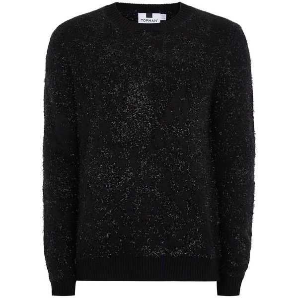 TOPMAN Black Lurex Eyelash Jumper (€34) ❤ liked on Polyvore featuring men's fashion, men's clothing, men's sweaters, black, mens crewneck sweaters, mens slim fit sweaters, mens crew sweater and mens crew neck sweaters