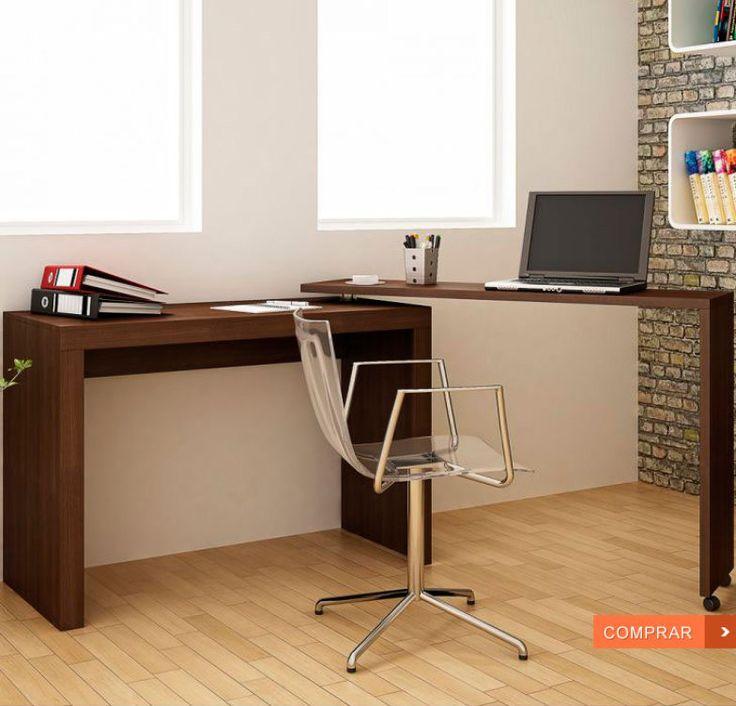 Escrivaninha Bc 31-49 Tabaco Brv Móveis. Produzida em 100% MDP com acabamento em BP, esta escrivaninha tem duas bancadas acopladas e giratórias, que podem ser montadas para direita ou para esquerda, com opção de serem usadas totalmente abertas.