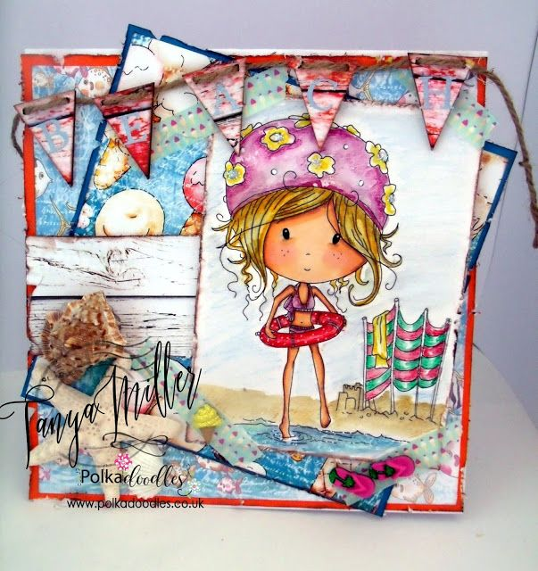 https://whaticreatednext.blogspot.co.uk/2016/07/new-polkadoodles-collection-winnie_86.html Card made using the Winnie & Rocco Starfish and Sandcastles VIP XXL Collection and coloured with Derwent Inktense Pencils