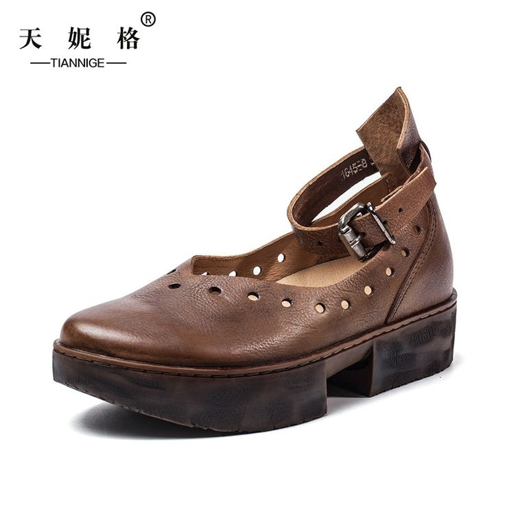 112.99$  Watch here - http://ali7fd.worldwells.pw/go.php?t=32789608183 - Designer Spring Womens Coffee Pumps Sale Genuine Leather Ladies 3.5CM Heel Wedges Fashion Handmade Women Ankle Strap Shoes