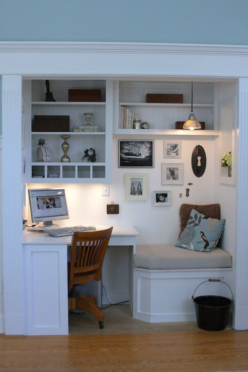 dens/libraries/offices - Ralph Lauren - Impressionist Blue - desk corner desk cubbies nook reading nook bench salon walls reclaimed material small space small space decorating niche small office office bead board shelving antique office chair built-ins desk office nook shelves office chair pendant light photo gallery basket blue paint walls paint color