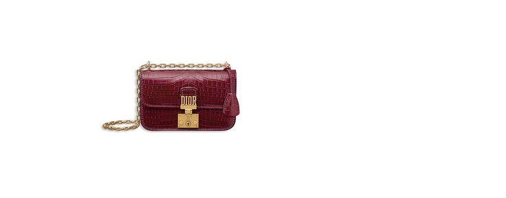 "Small ""dioraddict"" flap bag en glossy amaranth-coloured nile crocodile - Dior"
