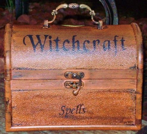 Witches Spells Chest Magic Wicca Black Cats Primitive Witch Box Prop halloween $72