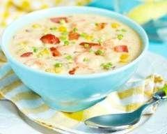 Chowder de crevettes, bacon et maïs (facile, rapide) - Une recette CuisineAZ