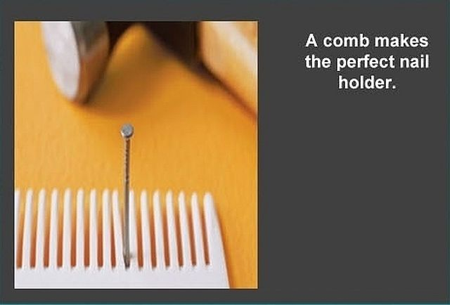 A comb makes the perfect nail holder.