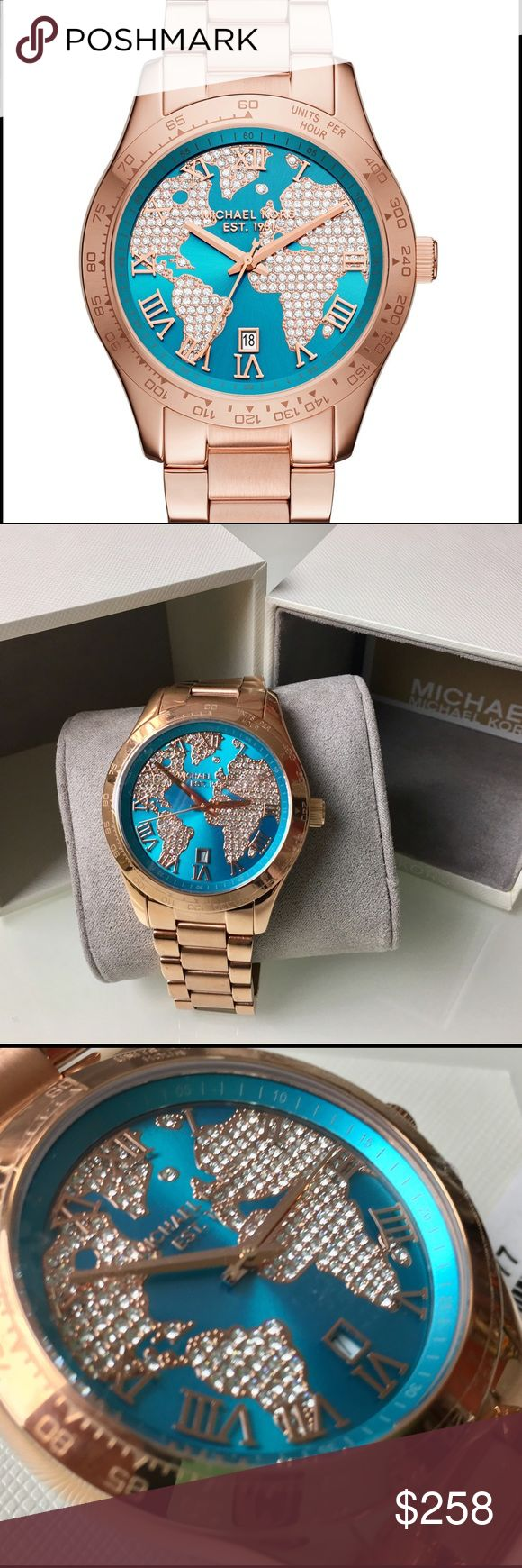 MK  Rose Gold Tone  watch Michael Kors  % Authentic Woman's  Layton Rose Gold Tone Stainless Steel Bracelet Watch 44mm MK6377. Blue and Crysral-accented rose-gold tone world map, Roman numerals, three hands, date window and Michael Kors logo. Water resistant to 100 meters. Round case, 44 mm. This is an oversized watch. Michael Kors Accessories Watches