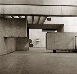 Detail of Victor Pasmore's Apollo Pavilion in Peterlee, 1970.