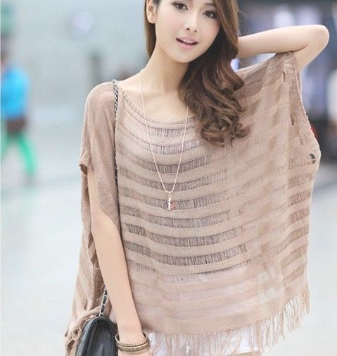 2013 Brown,Black,White Plus size loose Summer Sweater lady knitted top batwing t shirt tassel outerwear beach cover women shirt-inSweaters f...