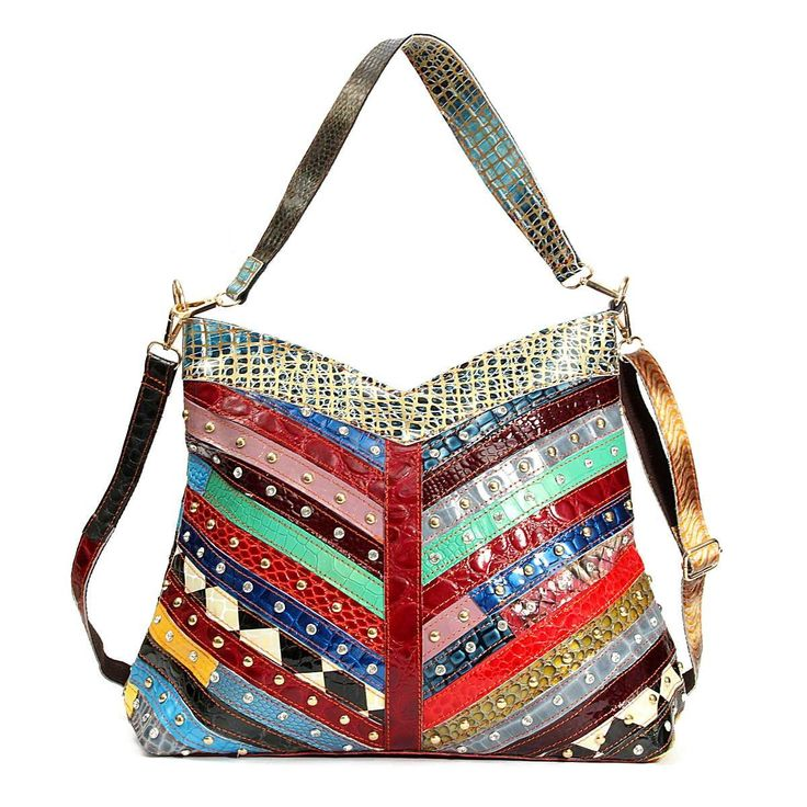 Genuine Leather Patchwork Hobo Tote Bag Shea – Floral Cat