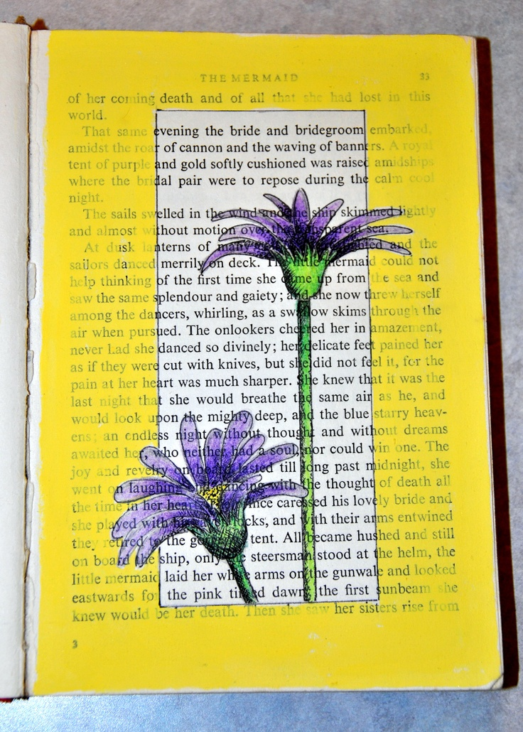 Altered book -- flower print on book page