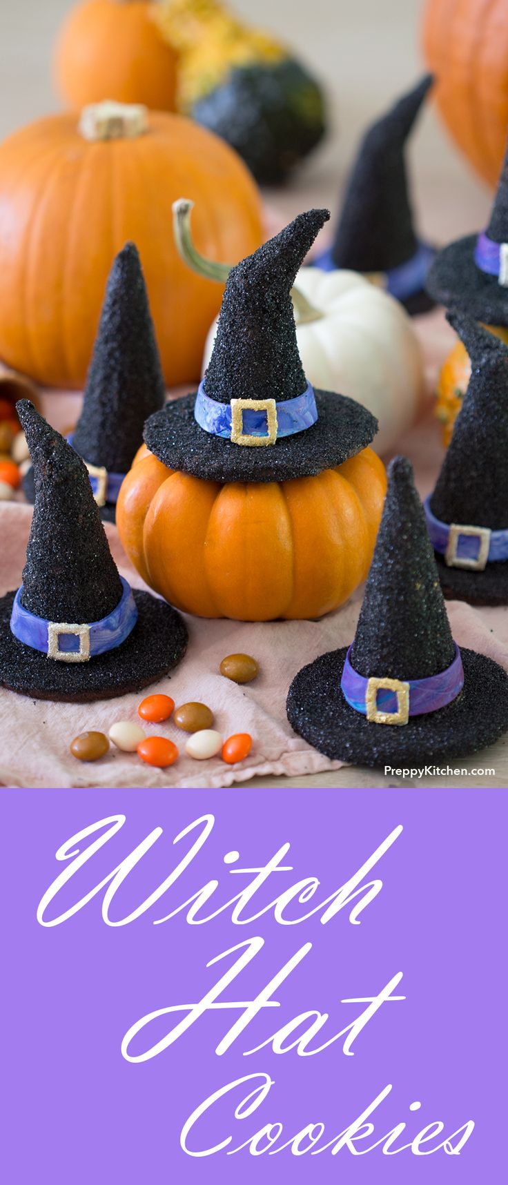 Witch Hat Cookies are exactly what your Halloween party needs. Step-by-step process on how to make them. | Halloween baking, Halloween desserts, how to make witch hats, Halloween cookies.