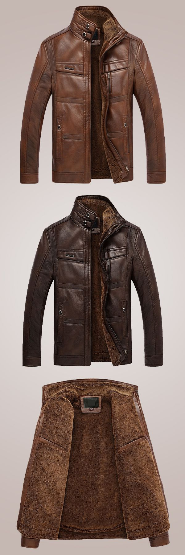 US$76.88 + Free shipping. Size: S~2XL. Color: Dark Coffee, Light Coffee. Fall in love with casual and outdoor style! Mens Faux Leather Thick Warm Fleece Stand Collar Multi Pocket Motorcycle Biker Jacket. #mens #jackets